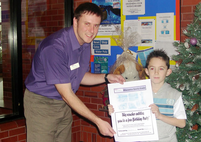 Lewis Caines (8) won the First Prize of a Party at Wincanton Sports Centre