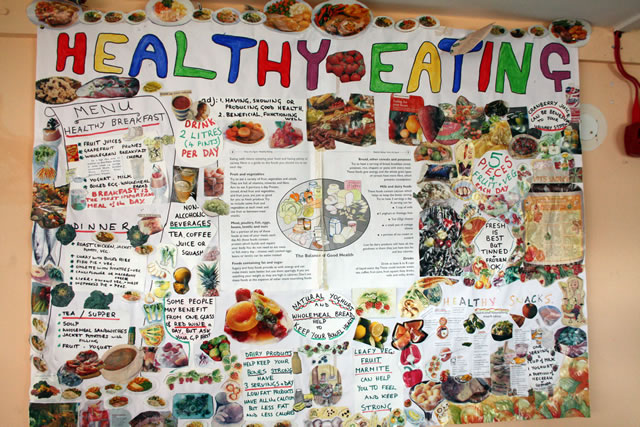 Patients made a collage about healthy eating