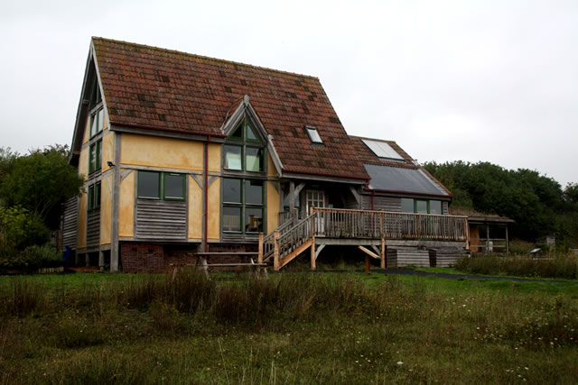 The centre's sustainable building, set in wildflower meadows