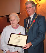 Mayor Richard D'Arcy Presents County Council Award to Mrs Sylvia Pleasants