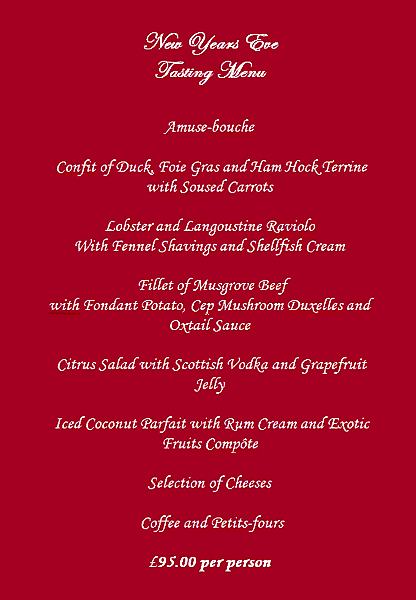 Holbrook House New Year's Eve menu