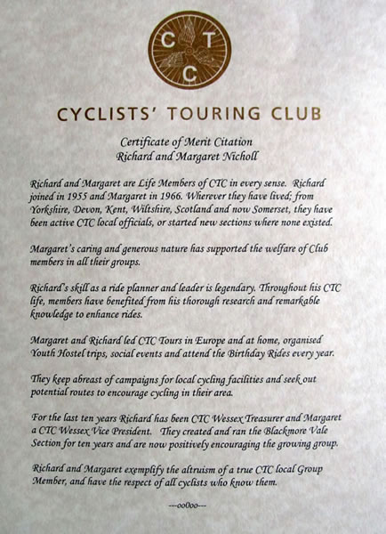 Certificate of Merit Citation from the Cyclists' Touring Club