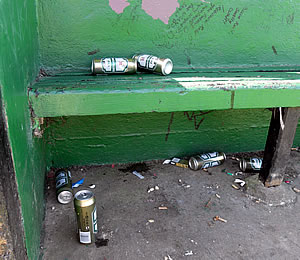 Beer cans left under the shelter