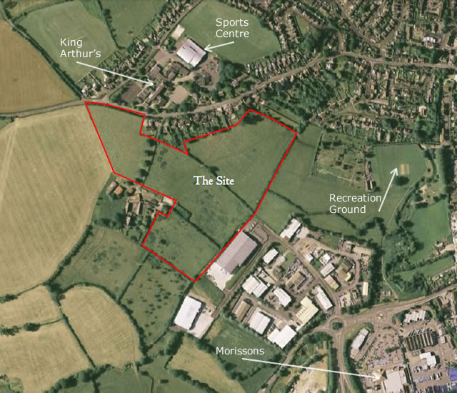 Aerial view of New Barns site before development began