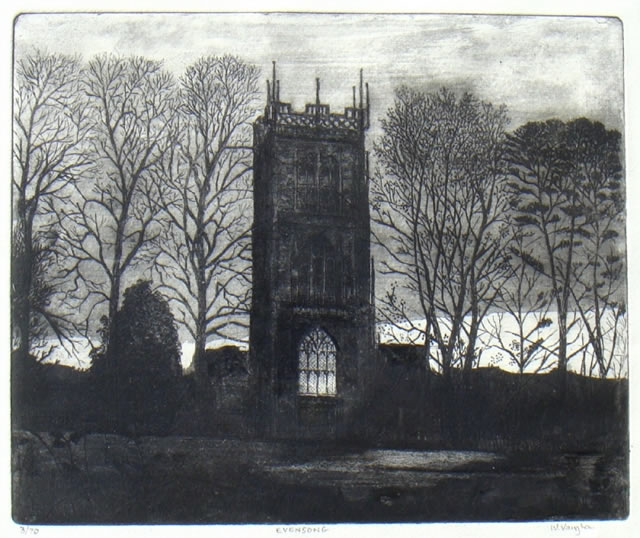 Evensong - Etching by Professor Will Vaughan
