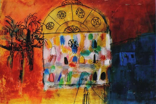 My House in Marrakech - Monotype by Jane Eaton