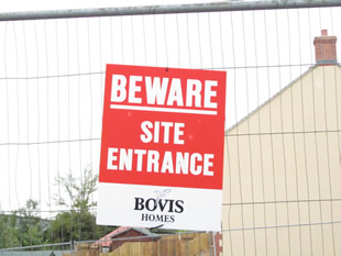 New Barns site entrance warning sign