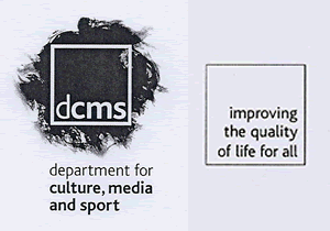 The DCMS logo and footer