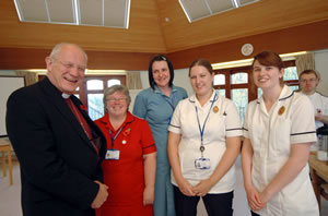 Rt. Rev. Peter Price, Lord Bishop of Bath and Wells, with Wincanton Commnuity Hospital staff