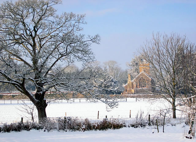 St John's Church, Horsington, in snow