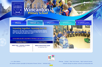 A portion of the new Wincanton Primary School website design
