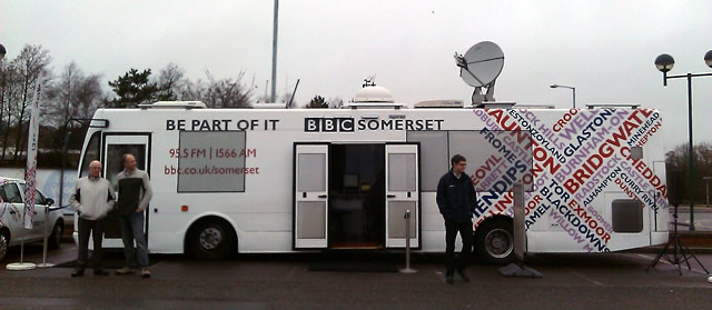 The BBC Somerset Bus, parked up in Morrison's car park.