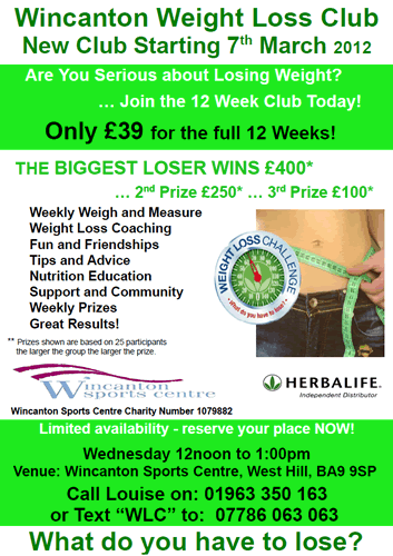 Wincanton Weight Loss Club poster