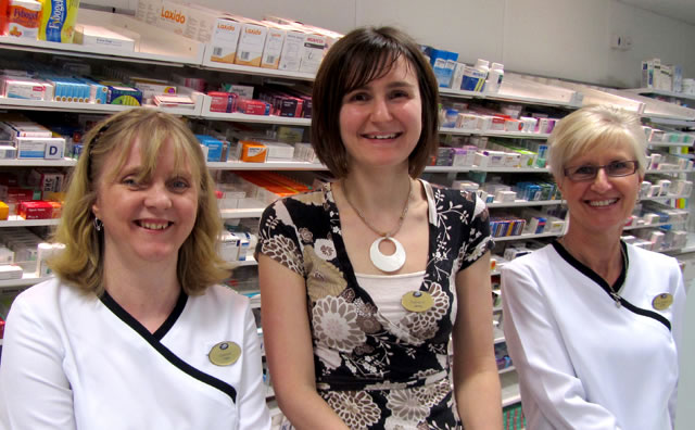 Pharmacist Jenny Cox with her two dispensers, Tess Rawlings (left) and Linda Butt (right)