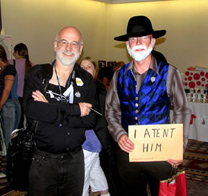 Sir Terry Pratchett, and another bearded fellow