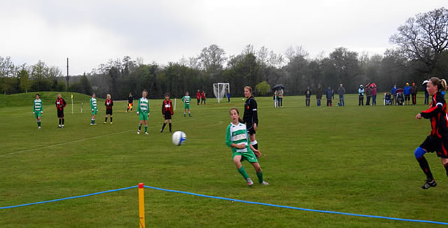 An action shot from the Under 14s Somerset Girls League Cup Final