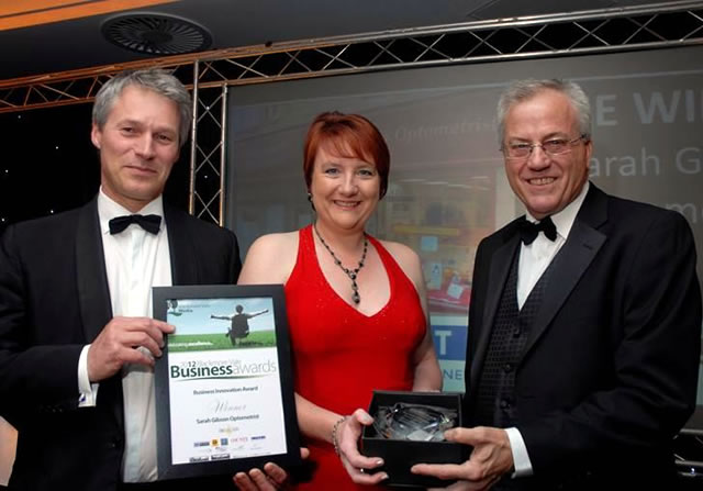 Sarah Gibson being presented with the Blackmore Vale Business Innovation Award