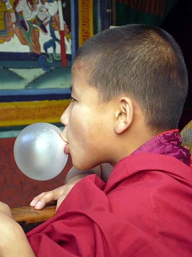 A monk blowing bubble-gum