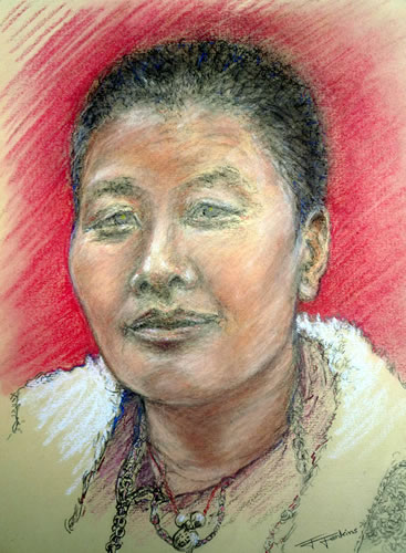A Bhutanese Buddhist nun, in pastel
