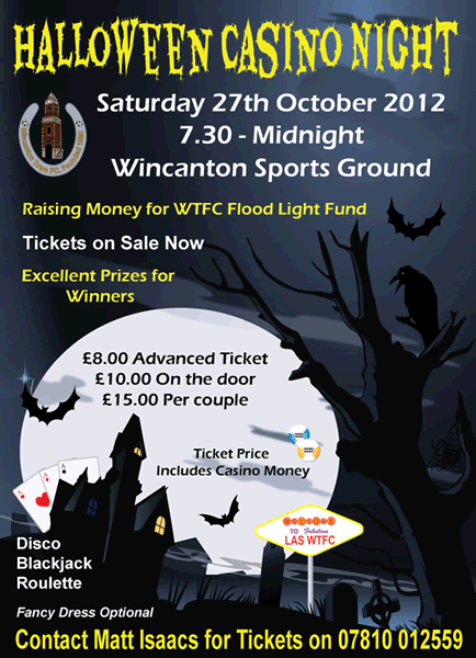 Wincanton Town Football Club Casino Night poster