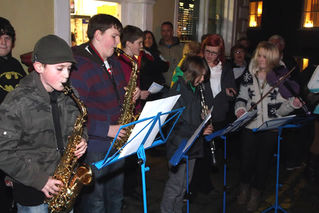 Young musicians playing in Market Place for the switching on of the lights