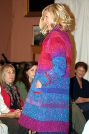 A brightly coloured coat at the Preview charity fashion show