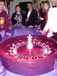 Roulette table at the Wincanton Town Football Club Hallowe'en Casino Night
