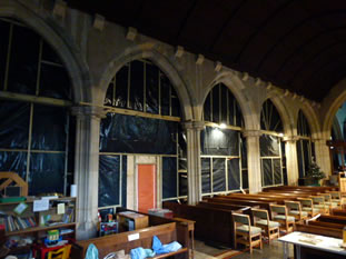 Partitioned south aisle of Wincanton Parish Church during roof repairs