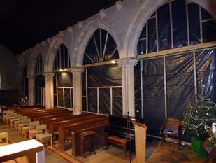 Polythene screen partitions in Wincanton Parish Church during roof repairs