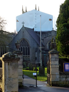 Wincanton Parish Church roof covered for repairs