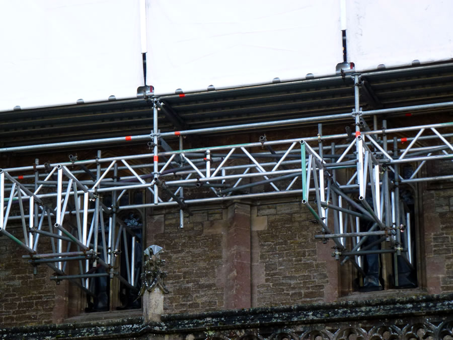 Scaffolding up Wincanton Parish Church