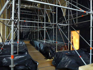 Scaffolding inside Wincanton Parish Church