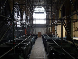 View through Wincanton Parish Church during roof repairs