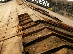 Repairing timbers on the Wincanton Parish Church roof