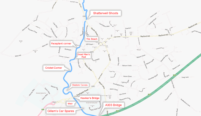 A map of the river Cale running through Wincanton