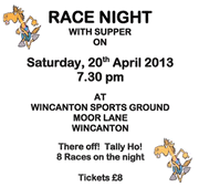 Race Night for Wincanton Community Hospital - Tally Ho, They're Off!