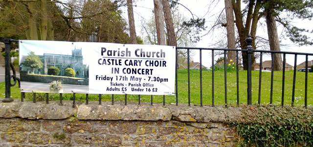 Castle Cary Choir concert banner outside Wincanton Parish Church