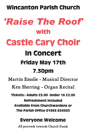 Castle Cary Choir concert poster