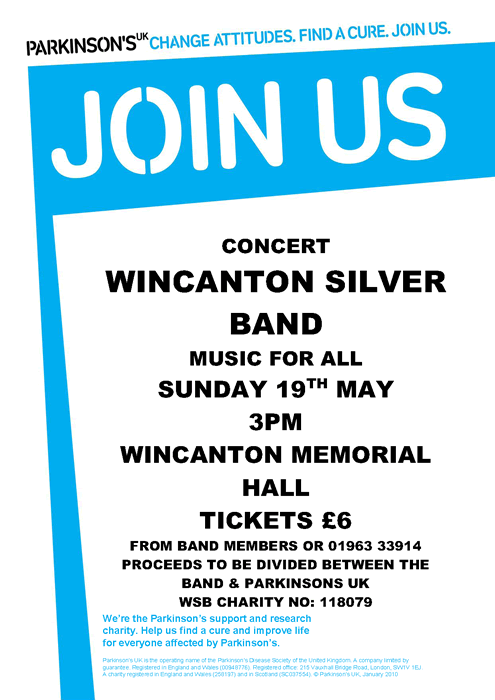 Wincanton Silver Band, Parkinson's concert May 2013 poster