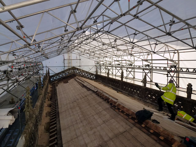 The whole of the Wincanton Parish Church roof under scaffolding