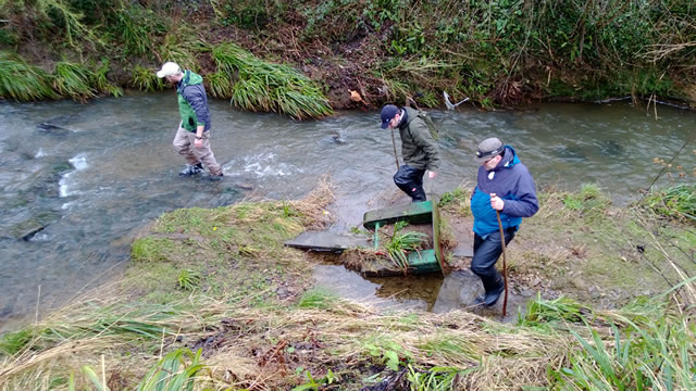 Mike Blackmore, Gary Hunt and Matt Bishop undertaking a survey of the River Cale back in February