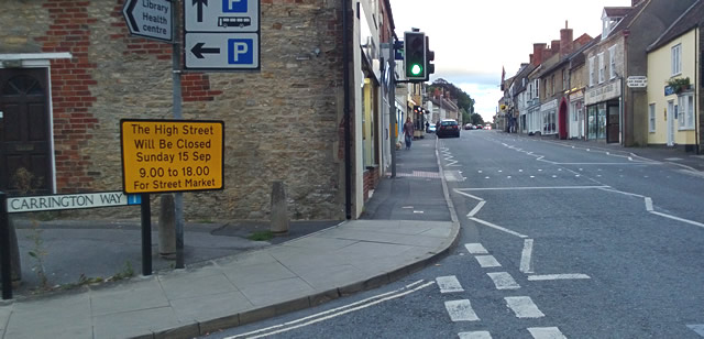 Wincanton Street Market Road Closure sign