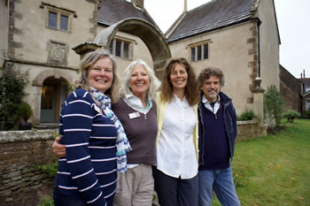 Linda Ireland, Sure Medlicott, Angus and Jayne Hart in front of Balsam House, Wincanton