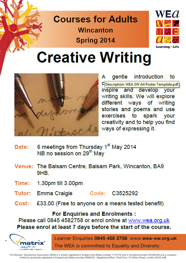 creative writing and literature courses Master key elements of narrative craft, including characterization, story and plot structure, point of view, dialogue, and description develop skills across multiple.