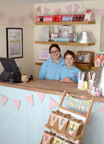 Vicky Riddick in her shop, The Small Cake Shop, Wincanton High Street