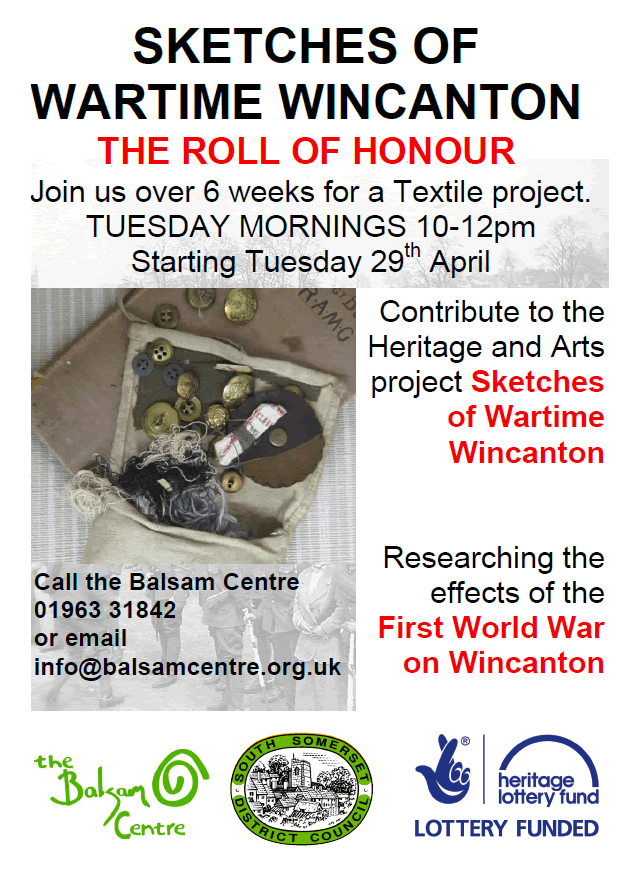Balsam Centre WWI Roll of Honour textiles project poster
