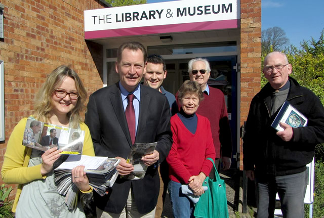 Sir Graham Watson MEP standing outside Wincanton Library with fellow Liberal Democrats