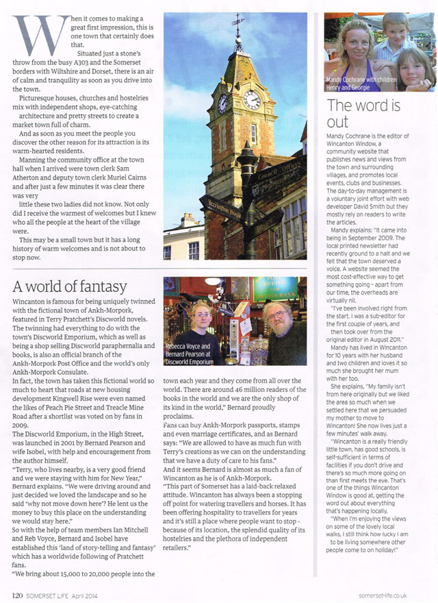 Somerset Life's Wincanton article, page one
