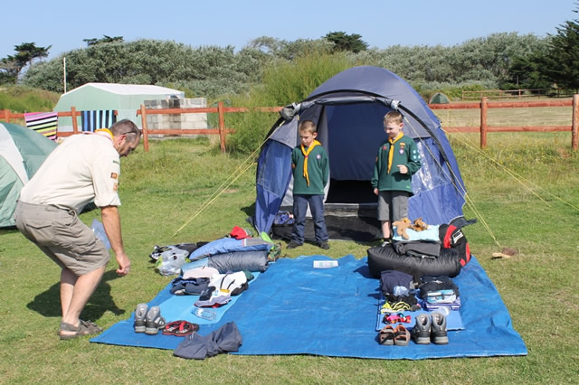Two Cubs having a kit inspection at the Jersey Camp