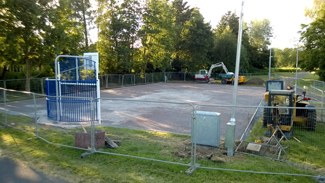 The MUGA (Multi-Use Games Area) construction underway